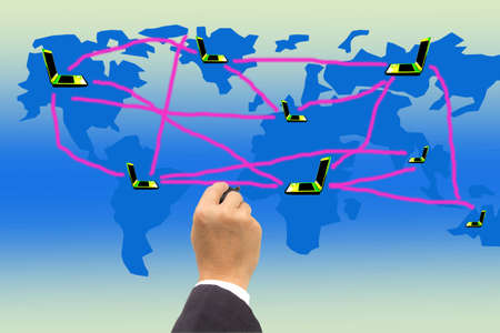 hand writing connect world map Stock Photo
