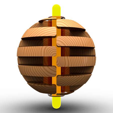 sphere: wooden sphere