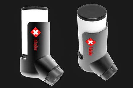 Asthma inhaler isolated on a dark gray background. 3D render Stock Photo