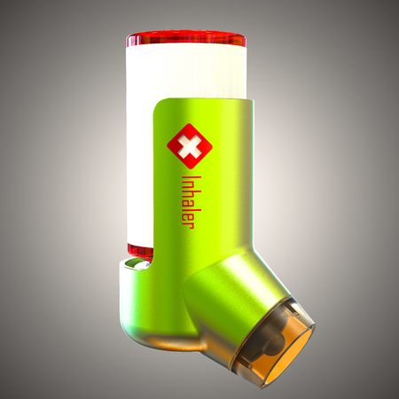 Asthma inhaler isolated on a gray background. 3D render Stock Photo