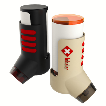 Asthma inhaler isolated on a white background. 3D render