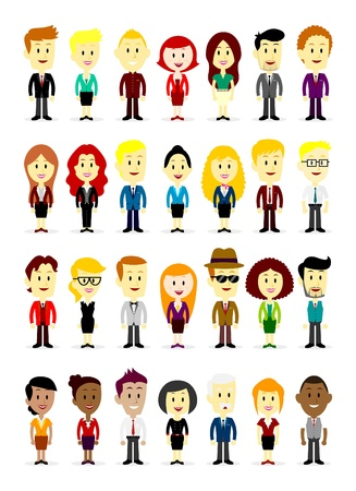 character: Cute Cartoon Business Man and Woman Wearing Various Colorful Suits