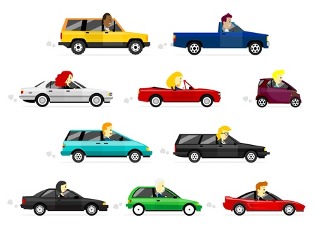 micro drive: Cute Cartoon Business Man and Women Driving Various Colorful Cars Illustration
