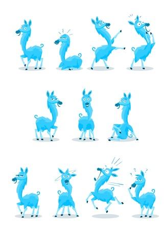 llama: Blu colorato Llama cartoni animati con 10 diverse espressioni