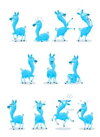 llama: Blue Colored Llama Cartoon Character with 10 Various Expressions Illustration
