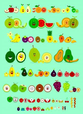 mango slice: Cute Smile Cartoon of Various Fruits