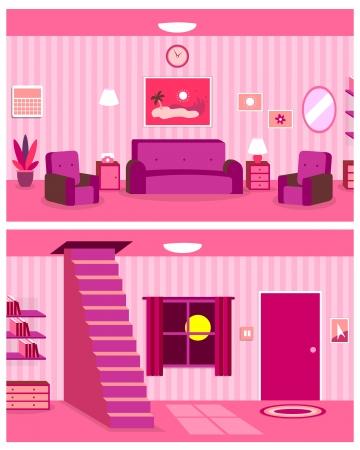 Vector Cartoon continue achtergrond van Living Room Interieur