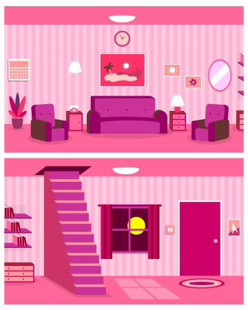 pink lamp: Vector Cartoon Continuous Background of Living Room Interior