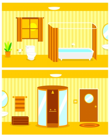 Vector Cartoon Continuous Background of Bathroom Interior Vector