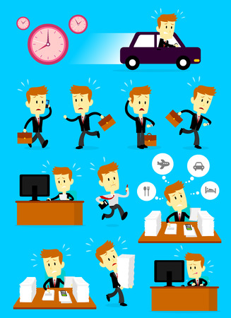 A Businessman Cartoon Character in a Hurry Busy Day with his 11 different actions Illustration
