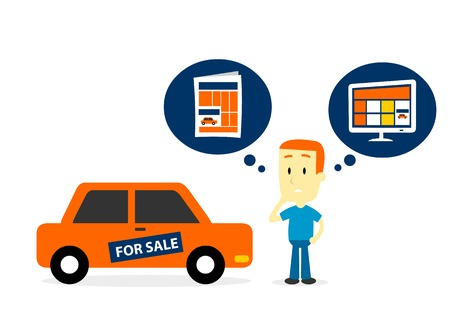 sell car: Man Thinking to Sell His Old Car on Newspaper Ads or Website Ads (in Flat Cartoon Style) Illustration