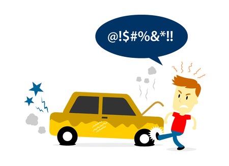 Man Kicking a Tire of Old Broken Car (in Flat Cartoon Style)