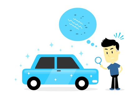Man is checking for minor scuff, small dent, Scratch, or the odd stone chip on  looking-perfect used car (in Flat Cartoon Style)