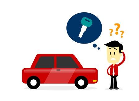 男は彼の車のキーを置く彼を忘れてしまったを探しています彼の車のキー (平らな漫画のスタイル) で行方不明  イラスト・ベクター素材
