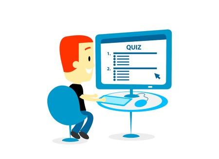 questionaire: Hombre que toma A Digital Cuestionario  Cuestionario  prueba  encuesta sobre una pantalla de ordenador (en Plano Estilo de dibujos animados)