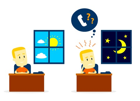 Man Waiting for A Phone Call from Day to Night but No One Call (in Flat Cartoon Style) Vector