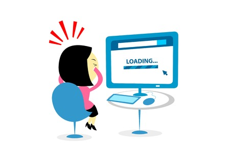 impatient: Woman looks so frustrating seeing another annoying loading bar to load a website low internet conncetion (in Flat Cartoon Style)