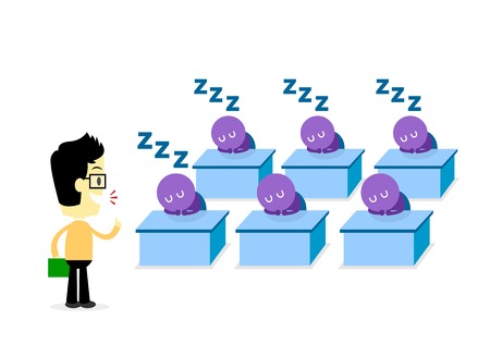 Man giving a boring lecture till audiences fall  in a deep sleep (in Flat Cartoon Style) 免版税图像 - 31447102