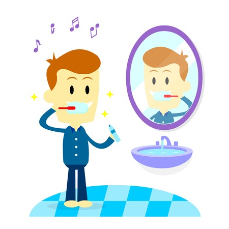 flat brush: Man humming a song while toothbrushing in bathroom with a happy thought (in Flat Cartoon Style)