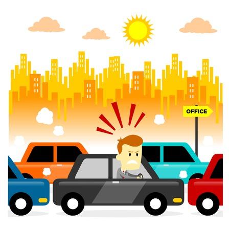 Sensación Hombre tensionado quedarse atascado en un embotellamiento de tráfico de la mañana (en el estilo de dibujos animados plana)