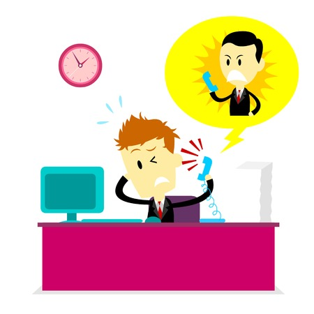 Man getting yelled at by Boss on phone while working (in Flat Cartoon Style) Vector