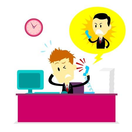 Man krijgen schreeuwde door Boss op de telefoon tijdens het werken (in Flat cartoon stijl)