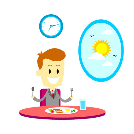 plato del buen comer: Hombre que tiene un desayuno con huevo y carne en casa antes de ir a trabajar  oficina (en el estilo de dibujos animados plana)
