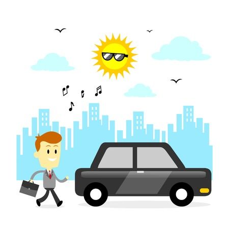 hum: Man ready to go to work his office, walking to drive his shiny car  (in Flat Cartoon Style)