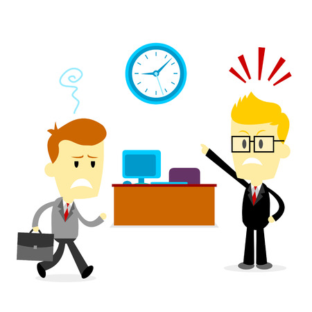 arrive: Man got busted by his boss, coming late to the office (in Flat Cartoon Style) Illustration