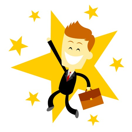A Happy Success Business Man (in Flat Cartoon Style) 免版税图像 - 32144561