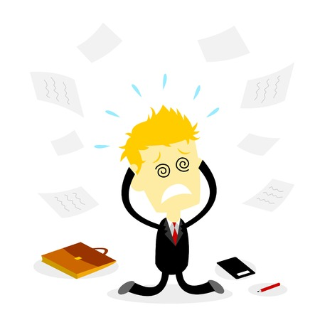 A Stressed Business Man kneeling, holding head and  dropping everthing on the floor (in Flat Cartoon Style) 矢量图像
