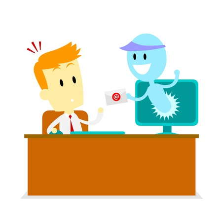 男配信彼の個人的な仮想コンピューター助手 (平らな漫画のスタイル) で通知新しい電子メール メッセージを受信します。