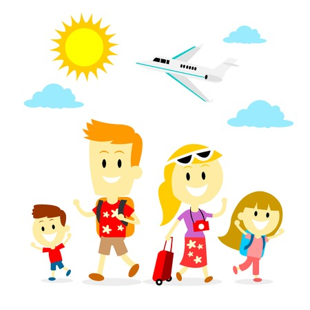 private jet: Mom, dad and two kids spending holiday with a family trip (in Flat Cartoon Style)