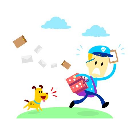affraid: A dog chasing after a mailman (in Flat Cartoon Style) Illustration