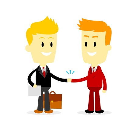 Two Businessman shaking hand, making a big deal (in Flat Cartoon Style) 矢量图像