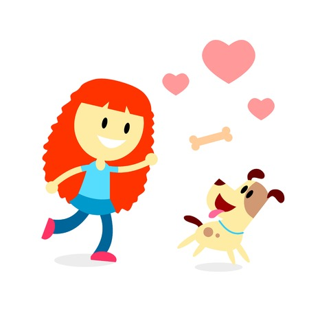 A Girl Loves Playing Catch the Bone Toy with Her Dog (in Flat Cartoon Style)