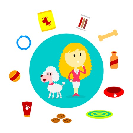 A Woman thinking about dog supplies that her dog will need (in Flat Cartoon Style) 矢量图像