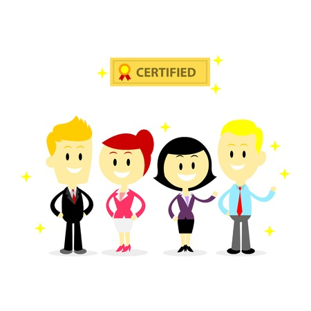 trusted: Certified Professional Employees (in Flat Cartoon Style) Illustration