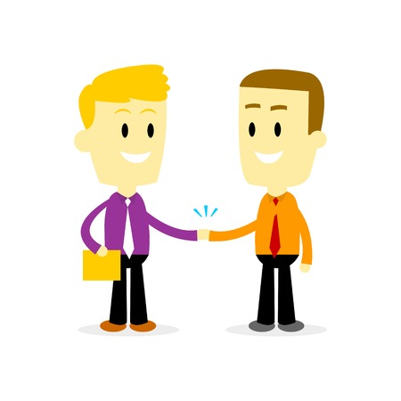 confirm: Two Businessman shaking hand (in Flat Cartoon Style)
