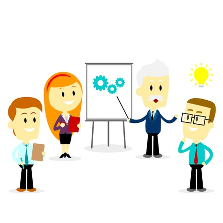 Business People meeting and discussing new ideas for work  (in Flat Cartoon Style)
