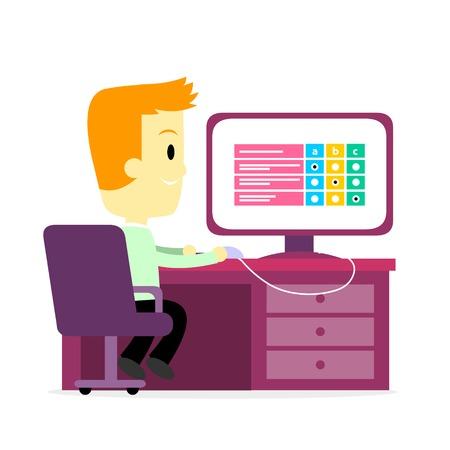 questionaire: Un hombre que toma una Digitales Empleo Concurso  Cuestionario  prueba  encuesta sobre una pantalla de ordenador