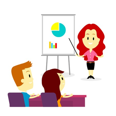 A business woman trainer coaching two employees about business in training/ developmet program
