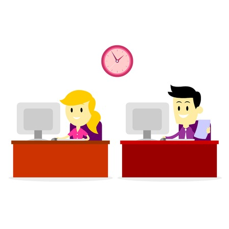 A Man And A Woman Working in Front of Office  Computer Stock Illustratie