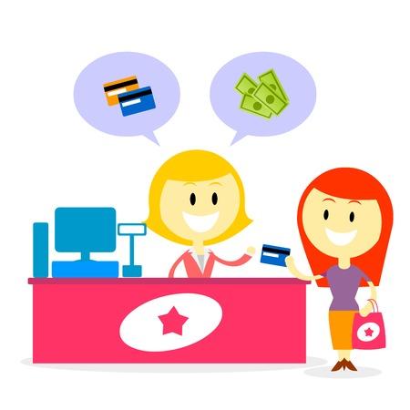 現金またはクレジット カードで支払いを受け入れることができます彼女の顧客を支払う顧客を言って店主ショッピング クレジット カードを使用し