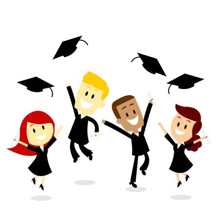 toga: Cuatro graduados universitarios jóvenes saltando y lanzando su casquillo feliz como la cultura del día de graduación