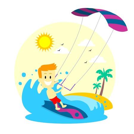 Man Enjoying Kitesurfing Vector