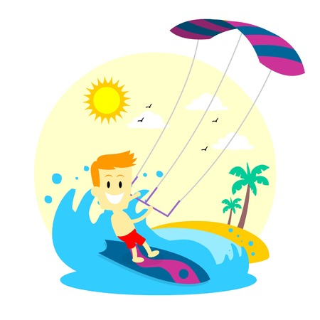 Man Enjoying Kitesurfing 免版税图像 - 32527037
