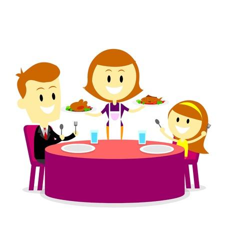 familia cenando: Mam� servir comidas para la cena de la familia