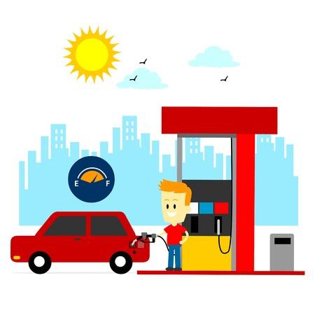 gas man: Man Filling Up Gas Tank