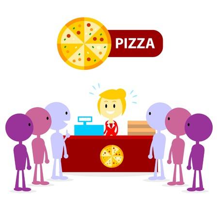 Long Queue at Pizza Counter 免版税图像 - 32527057
